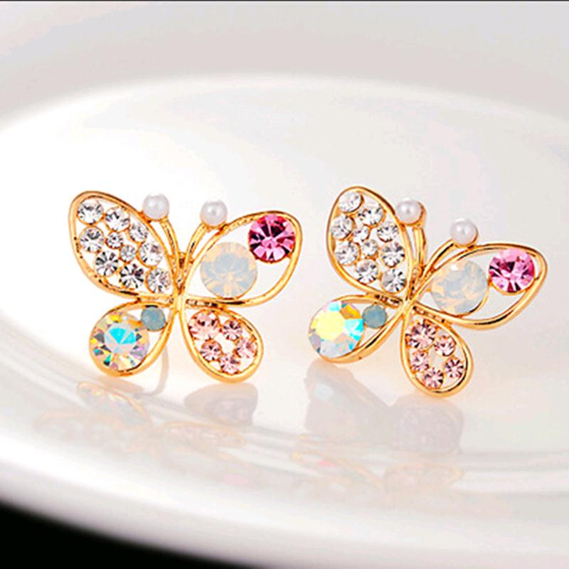 Золотой Новый корейский роскошные открытые блестящие красочные Cystal имитация жемчуг 18KGP бабочка серьга