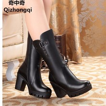 Women's shoes, women's genuine leather boots, high-heeled snow boots wool rough with in-tube motorcycle boots, free shipping