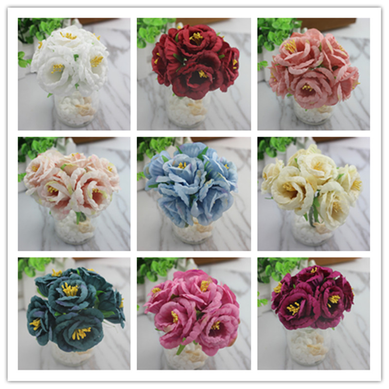 6pcs European small rose hand holding flowers DIY handmade material simulation flower fake flower cloth garland materia