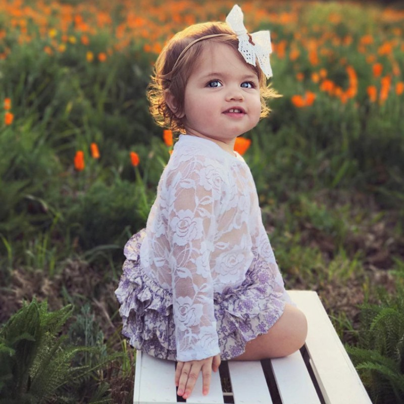 Baby Girls Rompers Spring Summer Baby Jumpsuits Climbing Suit Baby Lace Embroidered Long Sleeves