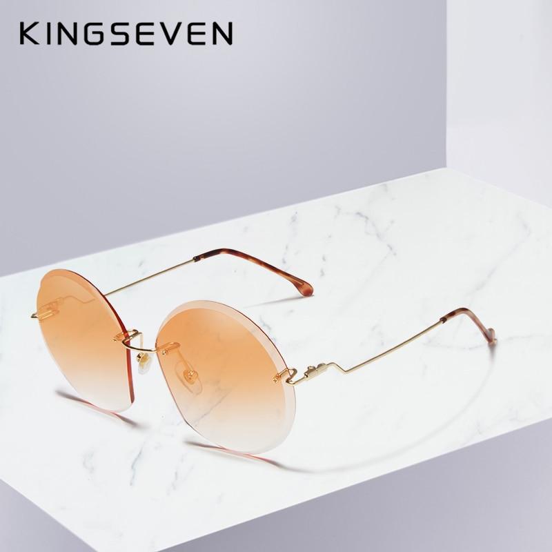 KINGSEVEN Vintage Round Sunglasses Women Brand Designer Eyewear UV400 Gradient Female Retro Sun Glasses Elegant Oculos De Sol Women's Sunglasses     - title=