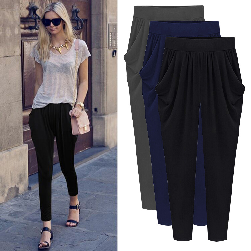 2018 Summer Autumn Woman Trousers Pleated Strechy Elastic Harem Pants Pantalon Femmes Calca Feminina 5XL 6XL 7XL 8XL Plus Size