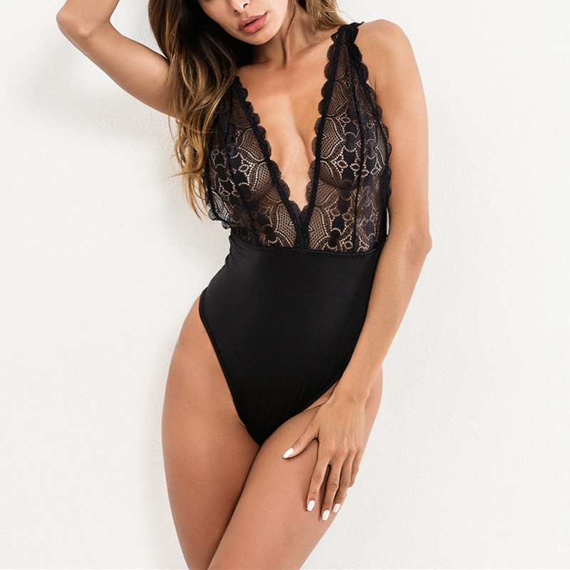 New Women Lace Bodysuit One Piece Sexy Deep V Jumpsuits For Women 2019 Hollowed Backless Rompers Bodysuit Black Body Mujer
