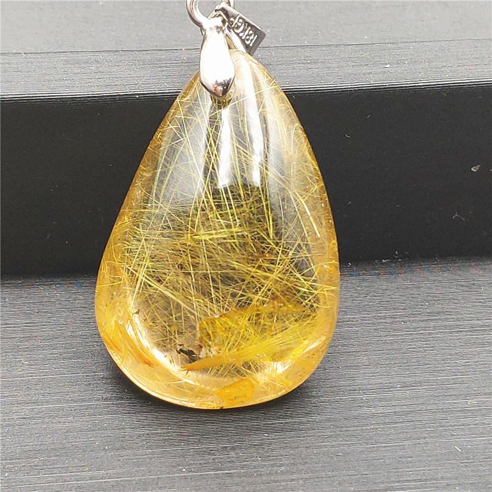 Natural Gold Rutilated Quartz Pendant (3)