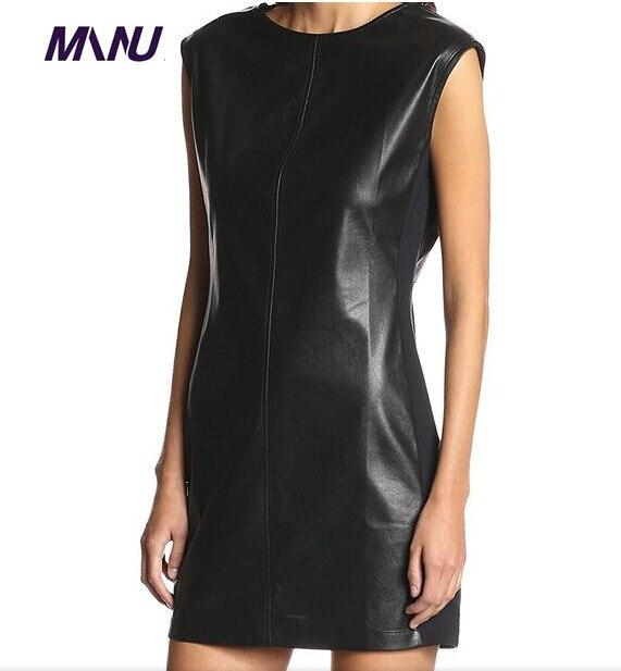 Womens Pu Leather Skater Dress Plus Size 7xl Pencil Bodycon O Neck