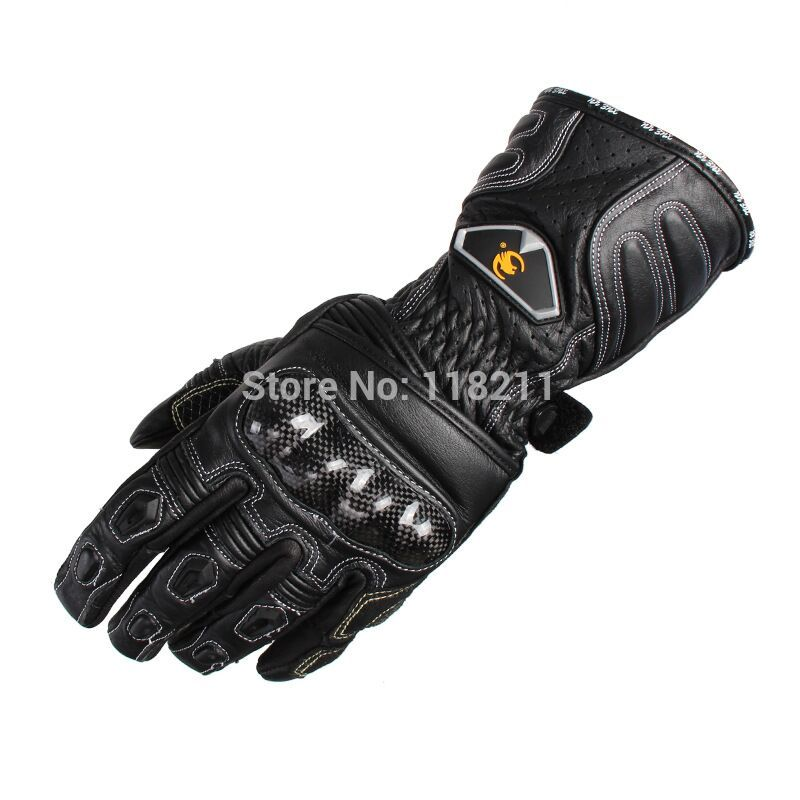 купить Brand Waterproof Touch Screen Genuine Leather Carbon Fiber Motorcycle Racing Gloves Outdoor motocross off-road Protective Gloves дешево