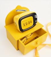 iConstel New LOFREE TV B.DUCK Mini Bluetooth Speaker Yellow Wireless Portable Retro TV Modeling Alarm Clock Speaker gift