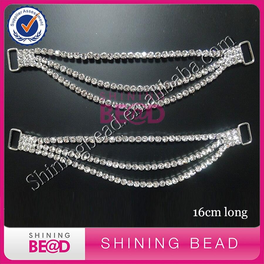 NEW HOT!! 3ROWS Compact Clear Crystal Rhinestone Bikini Connectors/ Buckle Chain For Swimming Wear Bikini Decoration