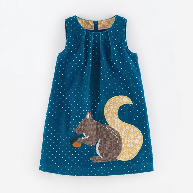 Fall Winter Girls Dresses Cute Animal Pattern Flannelette Children Clothing Sleeveless Vest Dress Brand Kids Clothes 2-7 years