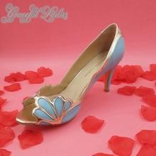 Këpucë për pompa femrash blu të buta Shell Gold Këpucë të detajuara të dasmave 3 thembra të larta me majë të këmbëve Peep Toe, këpucë pompë martesore, të punuar me dorë