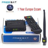 Спутниковый ТВ Box ресивер декодер freesat V7 HD DVB-S2 + USB инъекций с 4 линии Европа cccam счет Полная поддержка powervu tv box