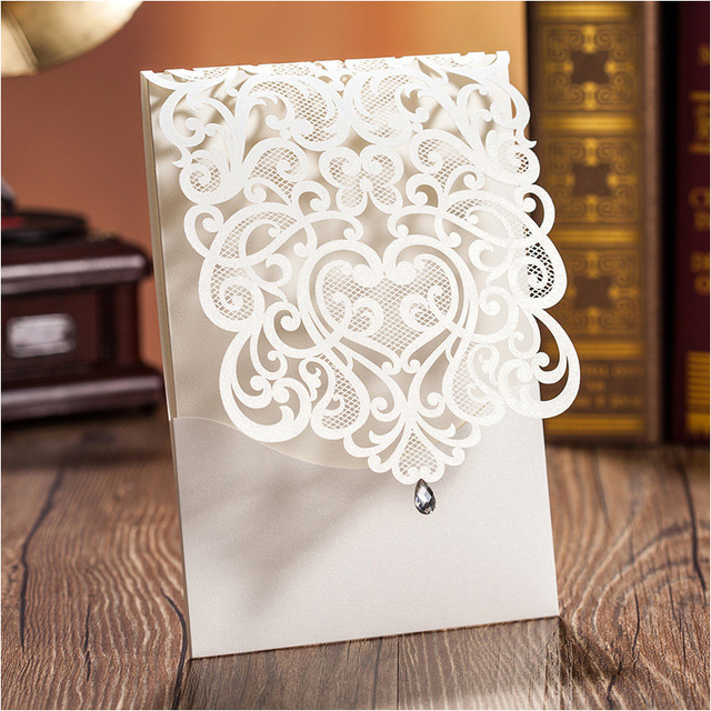 Elegant Wedding Invitations Beige Laser Cut Flower Birthday Invitation Card Convites Para Casamento With Envelope Seal