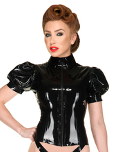 Wet Look Latex Sexy Costumes Latex Blouse Latex Out-fit With Puff Sleeves high shirt-style collar and zip front
