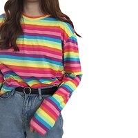 Harajuku Kadın Rahat Gökkuşağı Şerit T Shirt Kızlar Için Sonbahar Kadın Gömlek Uzun Kollu Bayan T-shirt Kadın Kadınsı Tops