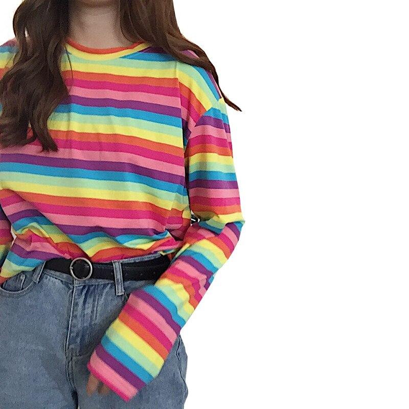 Harajuku Women Casual Rainbow Stripe   T     Shirt   For Girls Autumn Female   Shirt   Long Sleeved Ladies   T  -  shirts   Woman Tops Feminine