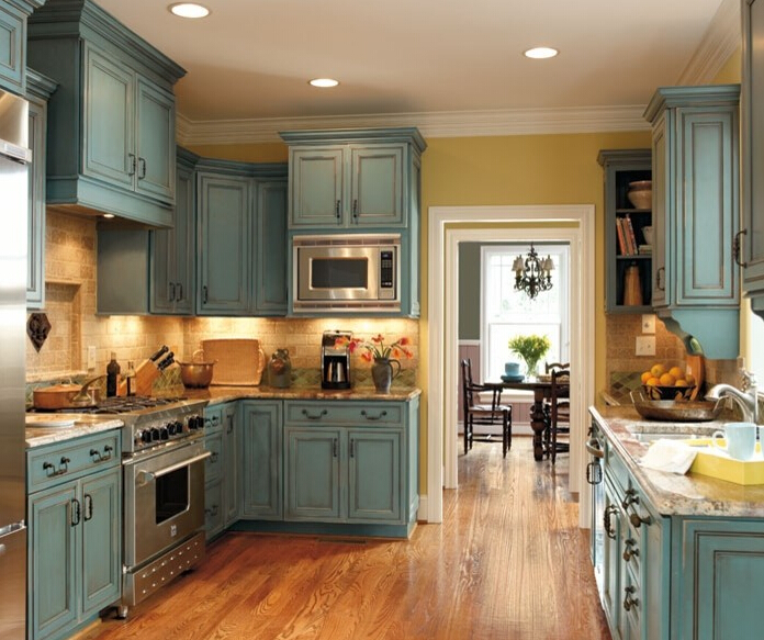 Customized Home Furniture Solid Wood Kitchen Cabinet With Island