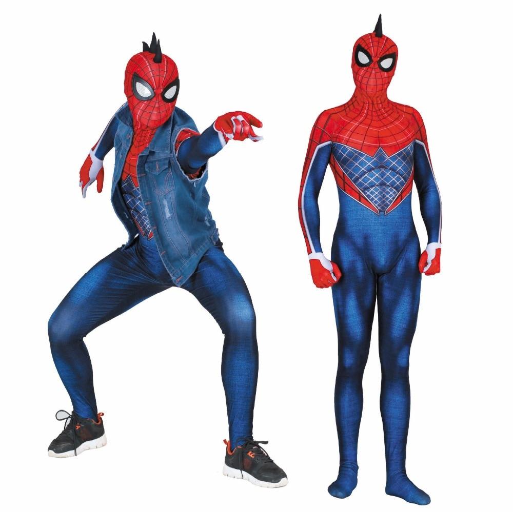 Adaptable Mannen Spider-punk Hobie Bruin Cosplay Kostuums Zentai Adult Kids Punk Spider Man Superhero Bodysuit Pak Jumpsuits Duidelijk Effect