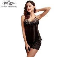 d9496815a Rendas Mulheres Conjuntos de Pijama de Seda Faux 2018 Senhoras Pijama de  Seda Sensuais Shorts Calças