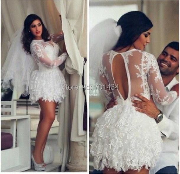 Vestido de novia corto espalda descubierta