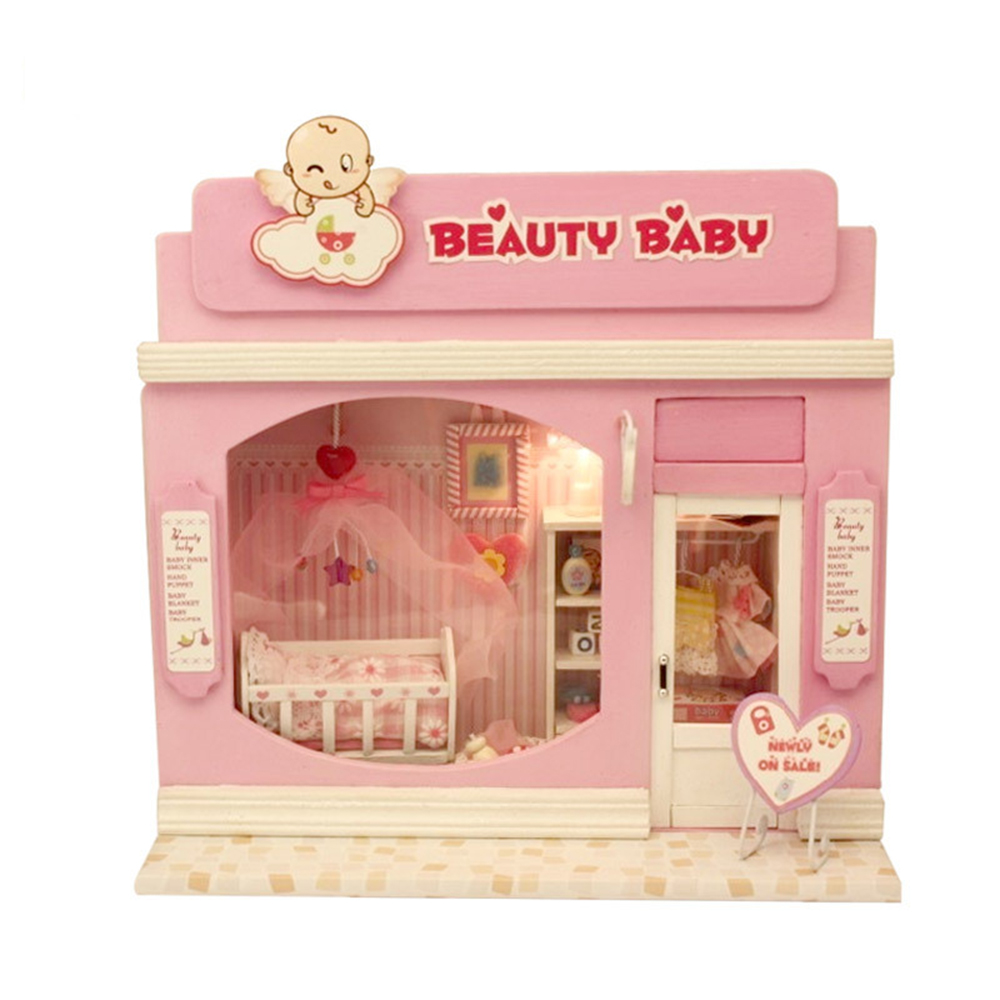 DIY Miniature Room Wooden Doll House Beauty Baby with Furniture LED Lights Dollhouse Toys for Children