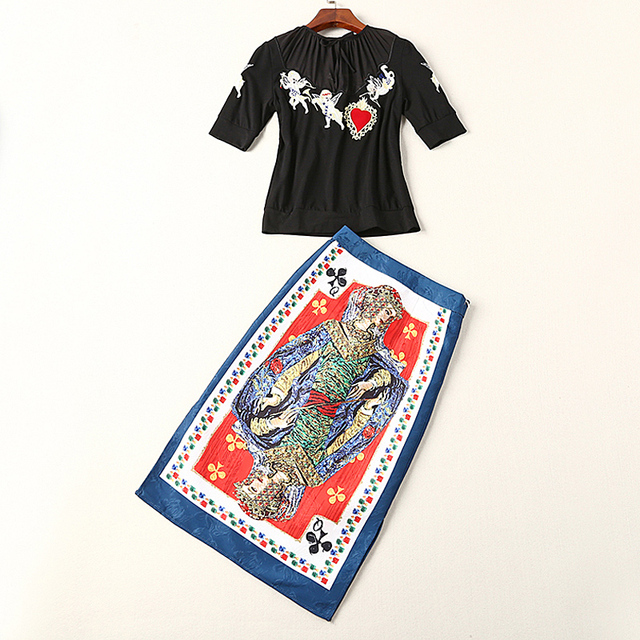 Star Print Poker Skirts Embroidery T-Shirt Set