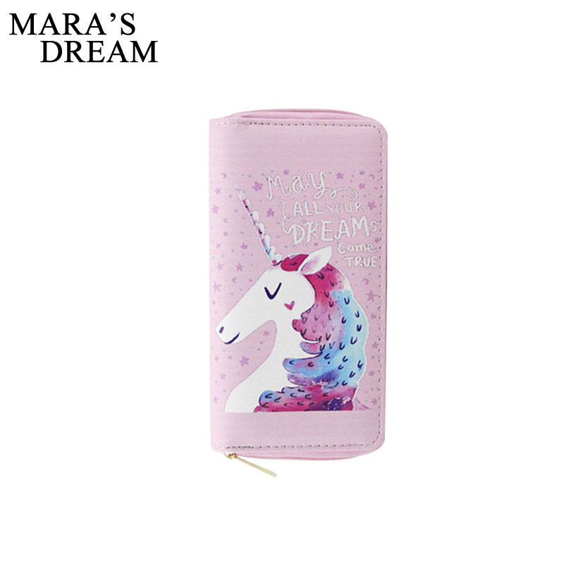 Mara's Dream 2018 Cartoon Printed Unicorn Women Long Wallet Female Long Clutch Zipper Coin Purse Card Holder Phone Bag