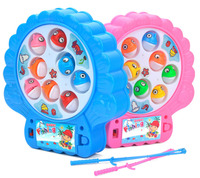 Kids Electronic Shell Shape Rotation Fishing Toys With Music And Two Fishing Rod Funny Interactive