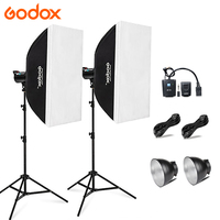 Godox 2x DE300 300 W 220 V Strobe Photo Studio Flash Light Lamp + Softbox + DC-04 voor Portret Mode Bruiloft art fotografie