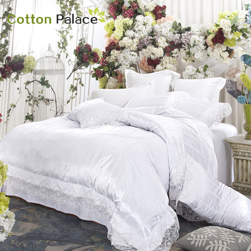 French wedding bedding set satin embroidery lace silk mix cotton luxury duvet cover flat sheet bed