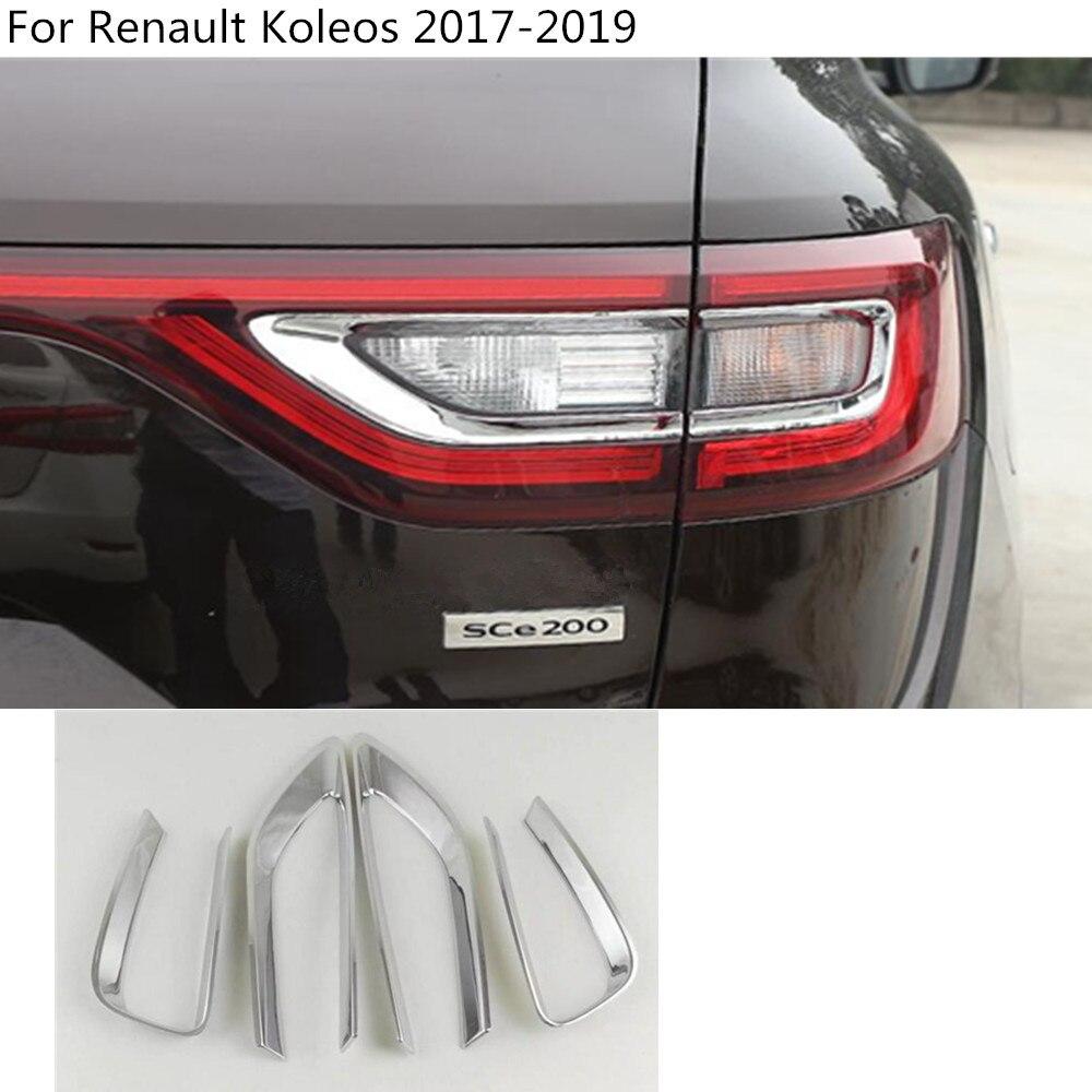 Car detector ABS Chrome cover trim back tail rear light lamp frame parts molding 4pcs For Renault Koleos 2017 2018 2019