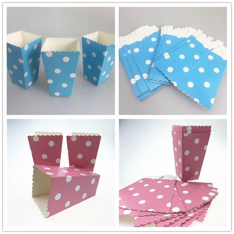 12 шт./лот синие розовые бумажные коробки в горошек для попкорна закуски товары для вечерние коробки для подарков на день рождения