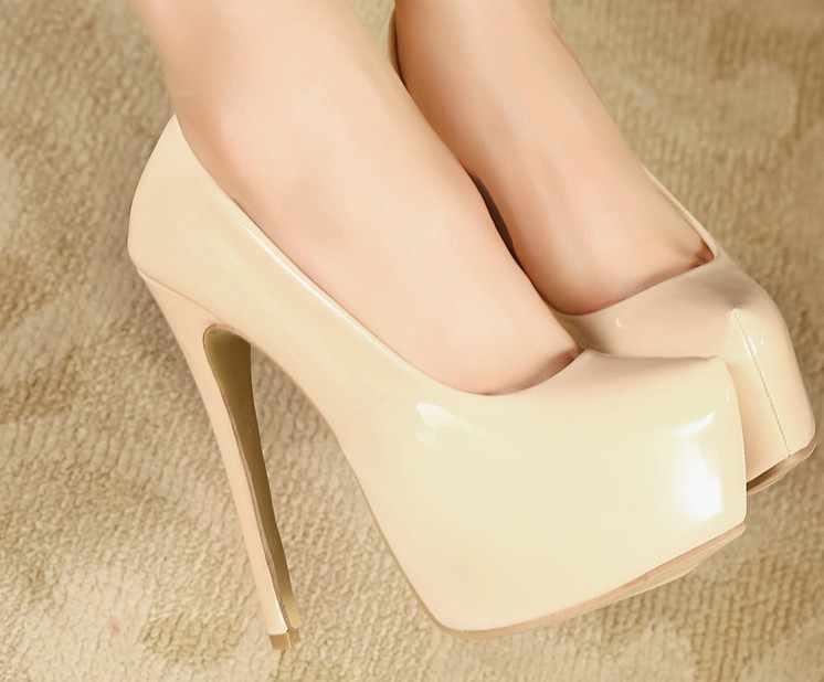Kadın moda patent deri pompa seksi ultra yüksek topuklu parti düğün platformu pompaları stiletto topuklu bayanlar artı boyutu 35- 44 ayakkabı