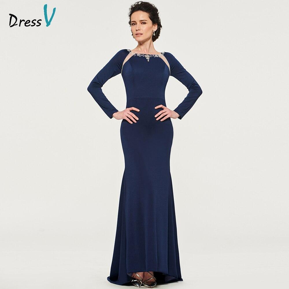 Dressv Dark Navy Elegant Mother Of Bride Dress Beading Mermaid Floor Length Zipper Up Long Mother Evening Gown Dresses Custom