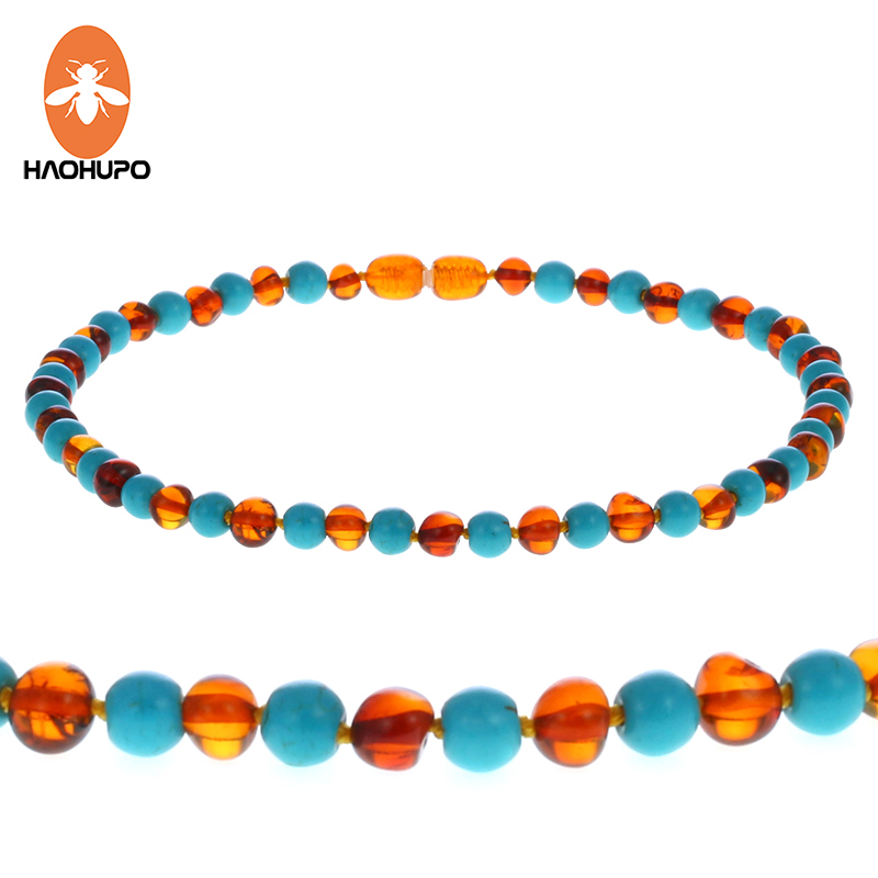 HAOHUPO 12--24 Natural Cognac Amber Necklace Turquoise Knotted Baltic Amber for Mother Baby Ambar Jewelry Diy Adult Necklace