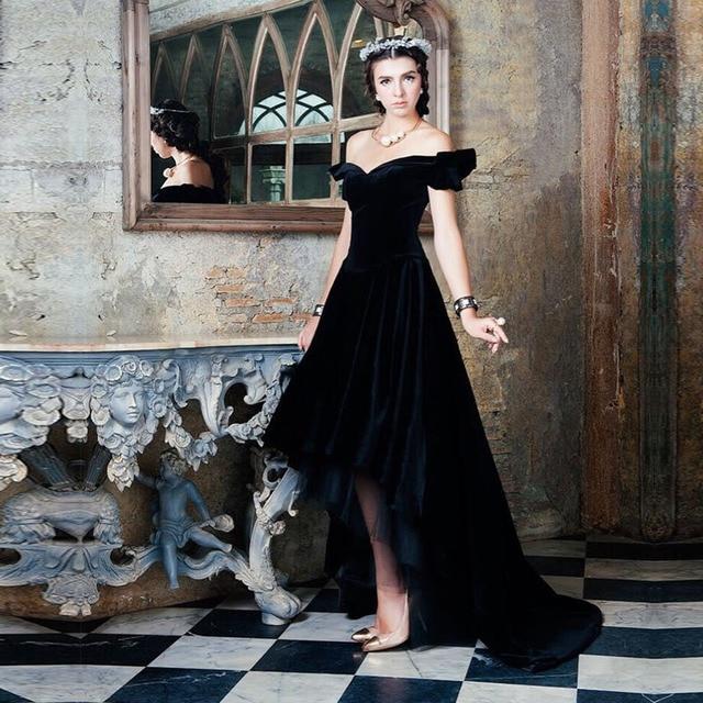 Vestido Longo Vintage Formal Party Dresses Black Velvet Short Front ...