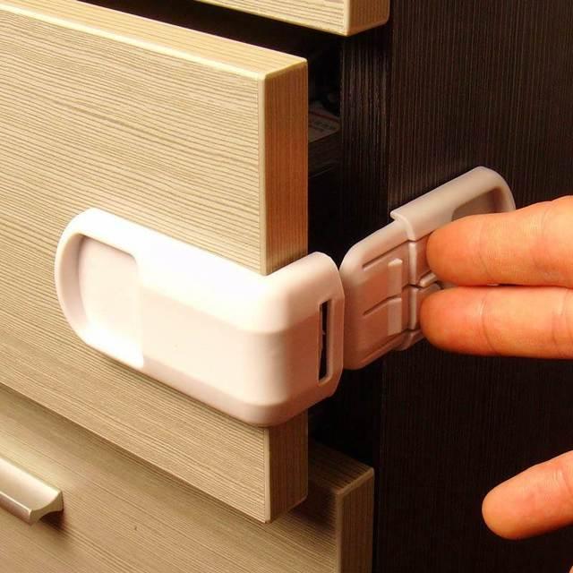 1 unidad de protección de seguridad de plástico para bebés de niños en gabinetes cajas de seguridad de puerta de cajón de bloqueo producto de seguridad para niños a prueba de bebés cerraduras
