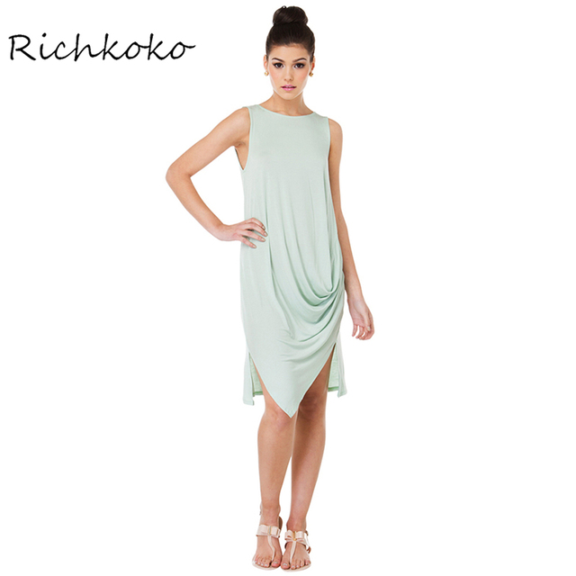 cd2521a105 RichKoKo Solid Green Color Summer Women Sleeveless Dress Pleated Drape  Loose Midi Dress Sweet Tank Top Style Dresses