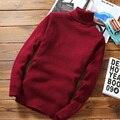 2016 Inverno Camisola Homens Pulôveres de Gola Alta Camisola Térmica Homem Slim Fit Tricô Padrões Mens Sweaters Pulôver Cor Sólida