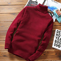 2016 Winter Sweater Men Turtleneck Pullovers Thermal Sweater Slim Fit Knitting Patterns Mens Sweaters Solid Color Pullover Man