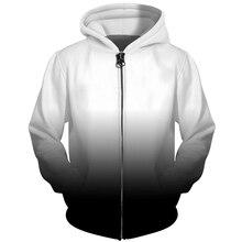 f12653925b854 Cloudstyle 3D Hommes Sweat À Capuche Zippé Noir Blanc Dégradé Simple Solide  3D Imprimé Veste Streetwear