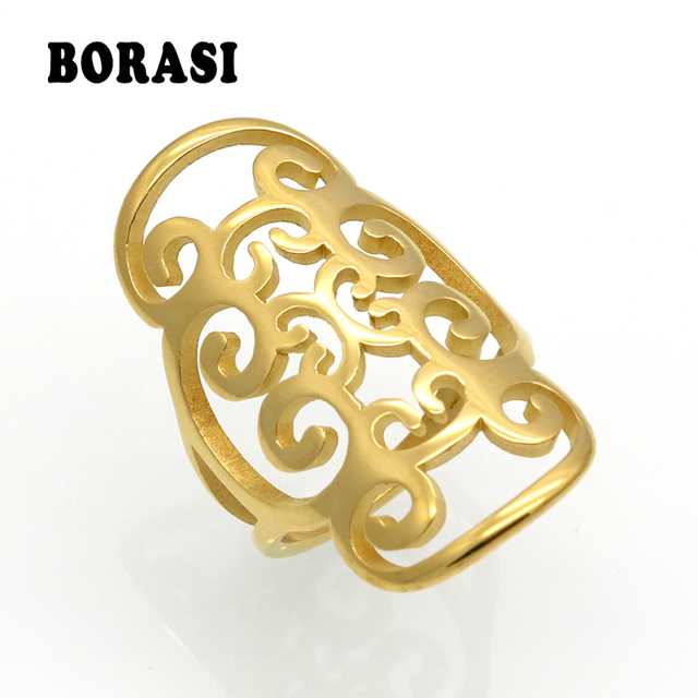 New Fashion Gold Color Stainless Steel Rings For Women Big Petals Design Exagger