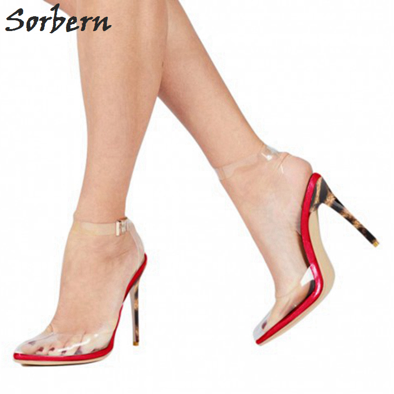 60844a080004 Sexy Clear Plastic Ankle Straps Slingbacks Round Toe Women Pumps High Heels  Transparent Pvc Custom Colors Plus Size Shoes Women