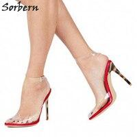 Sexy Clear Plastic Ankle Straps Slingbacks Round Toe Women Pumps High Heels Transparent Pvc Custom Colors