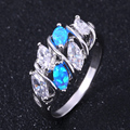 ZHE FAN Women Marquise Blue Pink White Fire Opal AAA CZ Cubic Zircon Rings Female Fashion Stones Engagement Finger Ring Jewelry