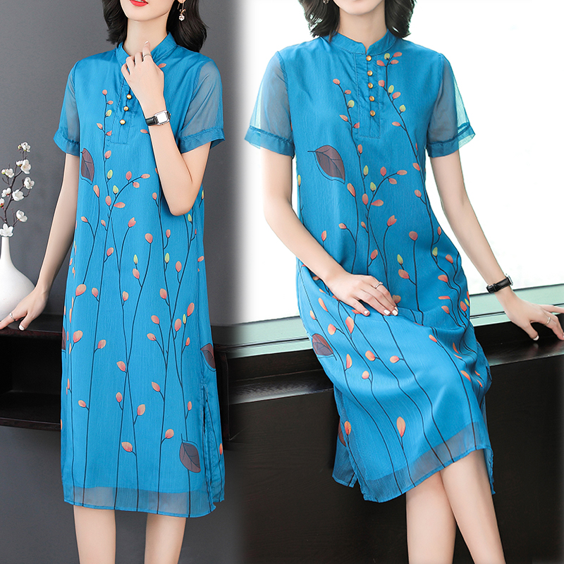 Chinese vintage elegant dress women plus size print floral dresses woman party night blue elegant 2019 summer short sleeve cloth in Dresses from Women 39 s Clothing