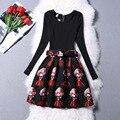 Muchachas Del Vestido de invierno 2016 Vestidos de Baile Ropa de La Muchacha de Impresión Delgado Cuello Redondo de manga larga Vestido Vestido Menina Ropa de Niña