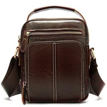 Мужская сумка на плечо из натуральной кожи, Повседневная стильная маленькая сумка-мессенджер, ретро винтажная сумка из коровьей кожи для би...