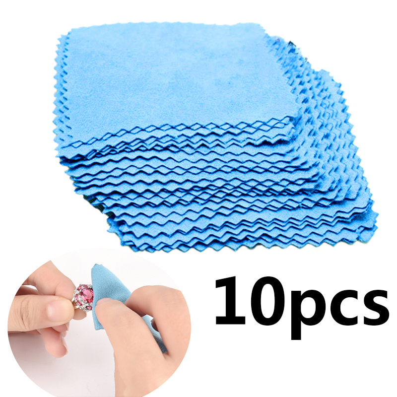 10 Pcs Polishing Jewelry Cloth Silver Polish Tool 925 Silver Jewelry Cleaner Anti-tarnish Square Tag Jewelry Cleaning Cloth