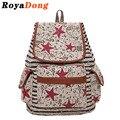 RoyaDong Drawstring Backpack Women School Bags For Teenage Girls Canvas Hooded Stripe Star 2017 Mochila Escolar Rugtas Sac A Dos