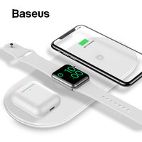 Baseus 3 in 1 Wireless Charger For iPhone 8 Xs Max Xr Apple Watch 4/3/2/1 Airpods Fast Wireless Charging Pad Born for Apple Fans